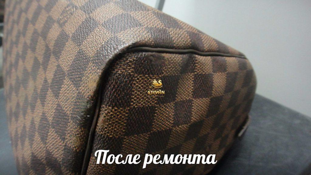 Восстановление лицевого слоя кожаной сумки Louis Vuitton